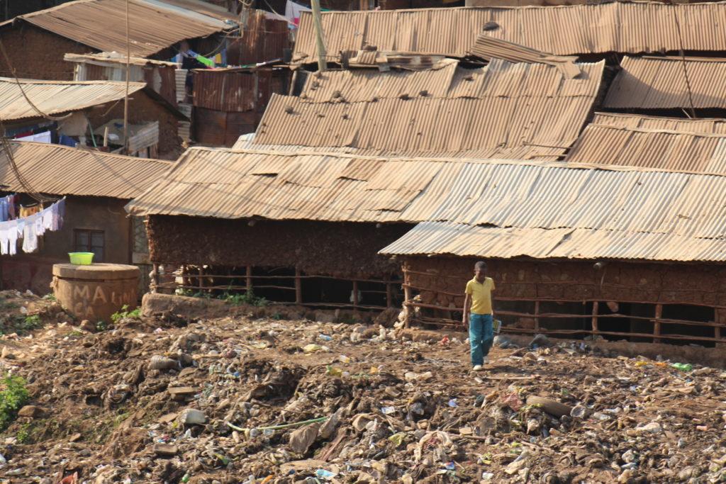 Boy in the Kibera slum in Nairobi Kenya